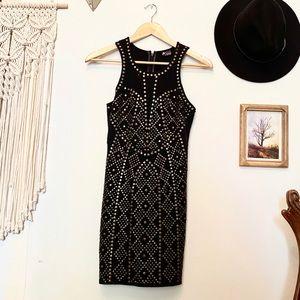Sparkle & Fade Black Bodycon Dress w/ brass studs